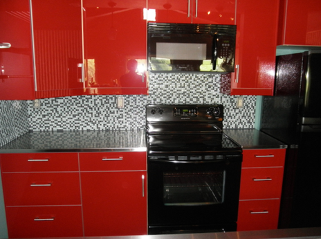 Wesson Barn Loft Kitchen. Fire Engine Red Cabinets From Ikea